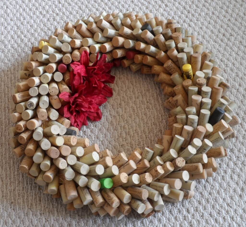 Wine cork wreath after the move