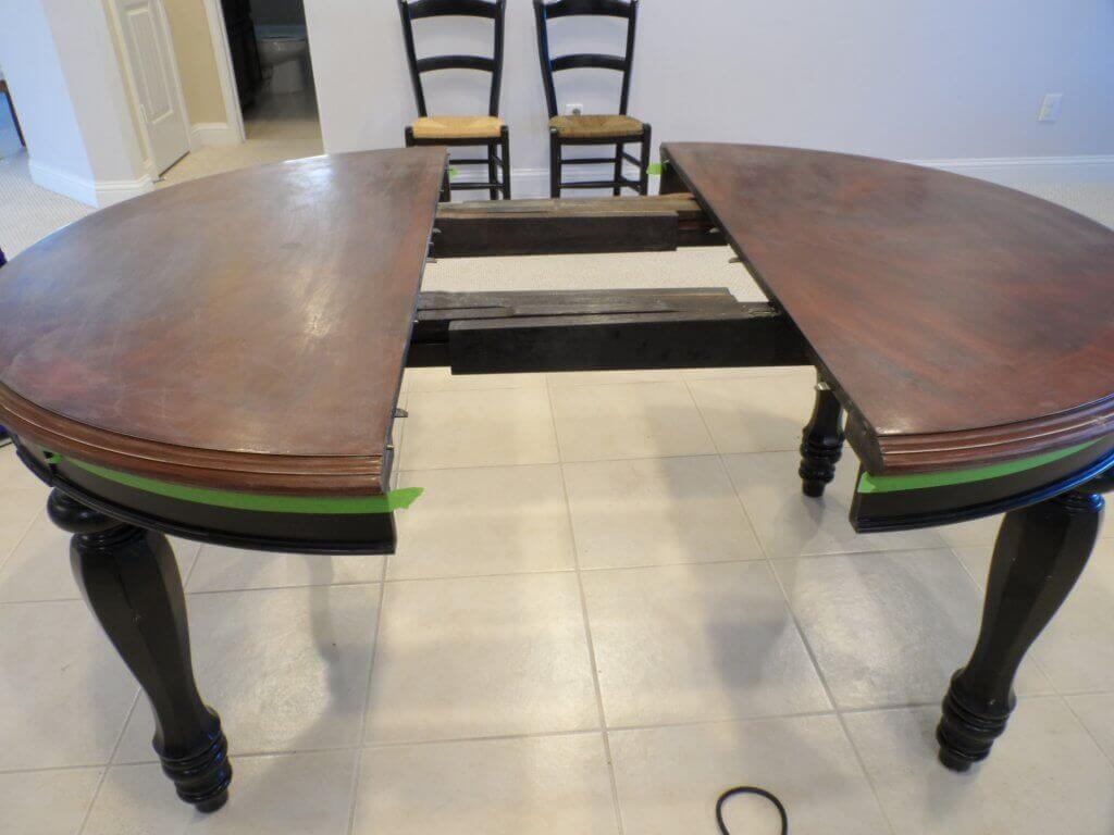 sanding-refinished-dining-table