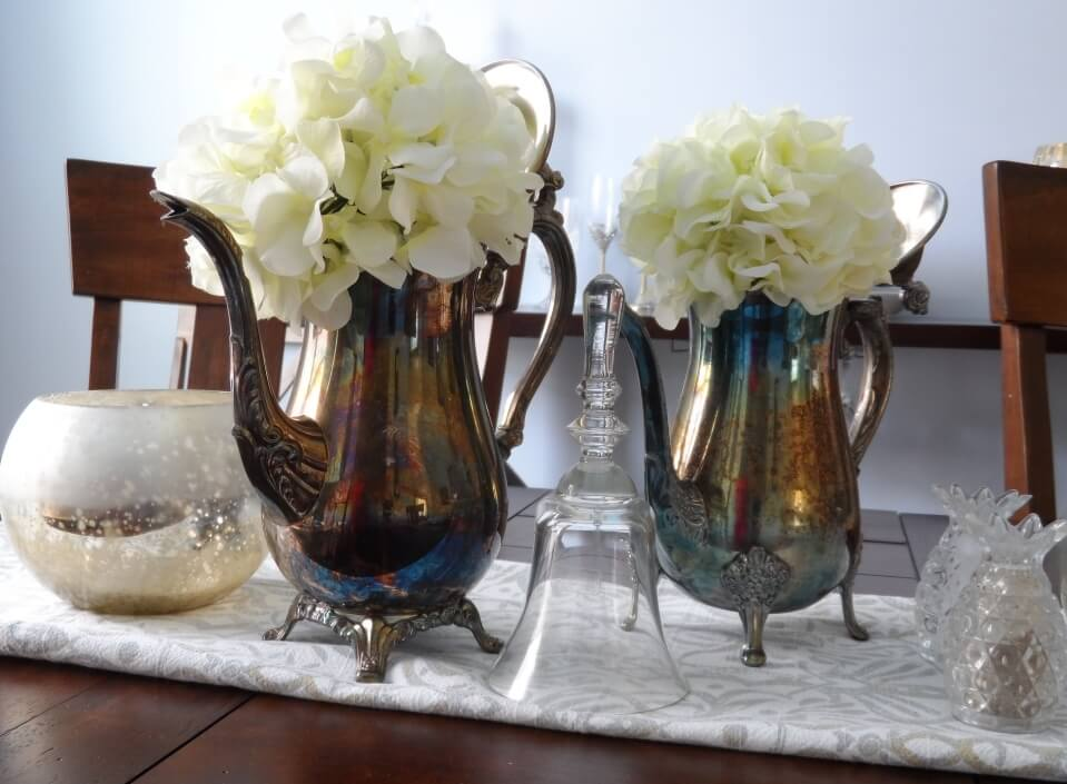 Silver teapots as decor