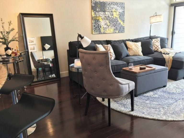 Decked Out Apartment Living Room For A Swank Young Couple