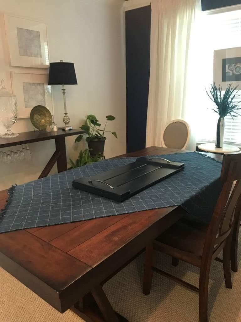 Finished DIY serving tray on dining table