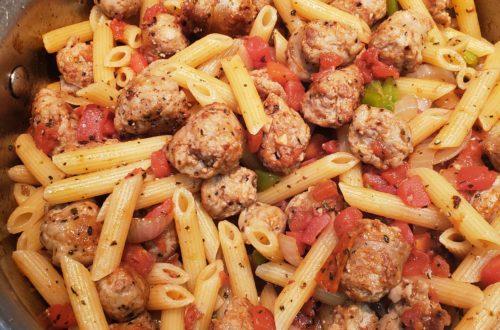Italian sausage veggie meatballs with Penne pasta