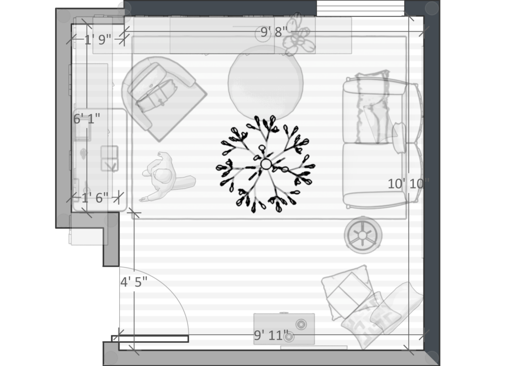 multifunctional small space floor plan & layout