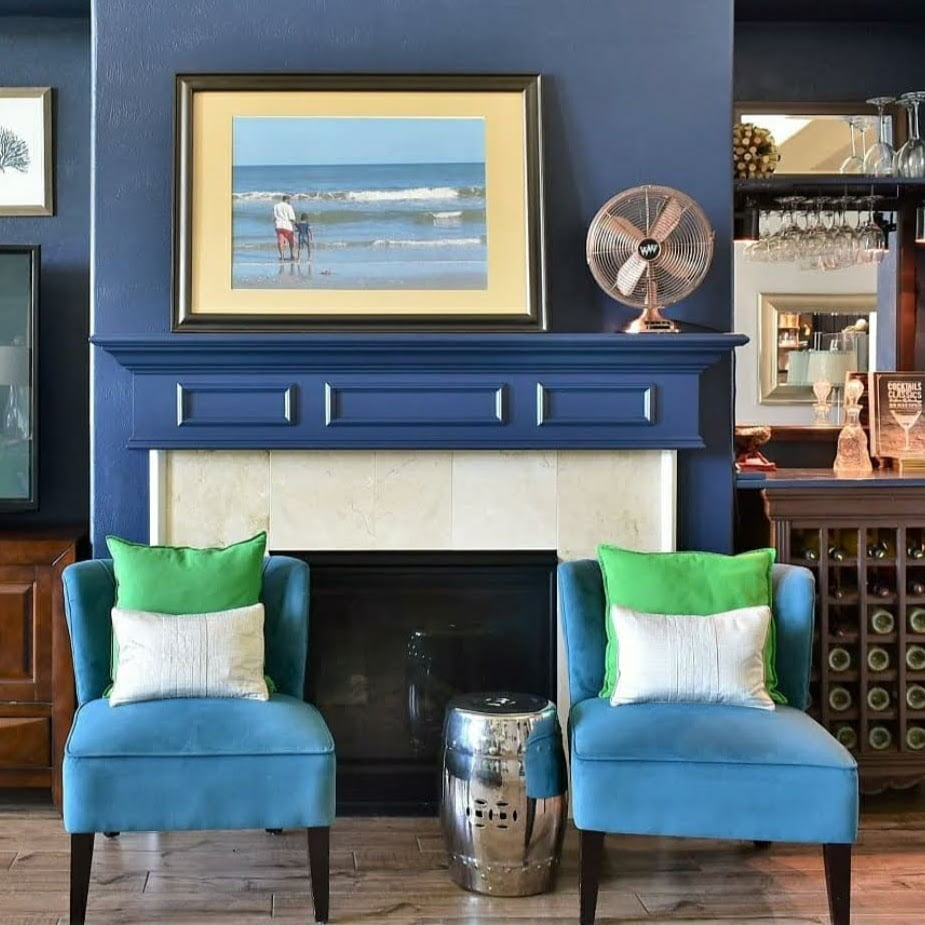 Fireplace wall painted Sherwin-Williams Naval