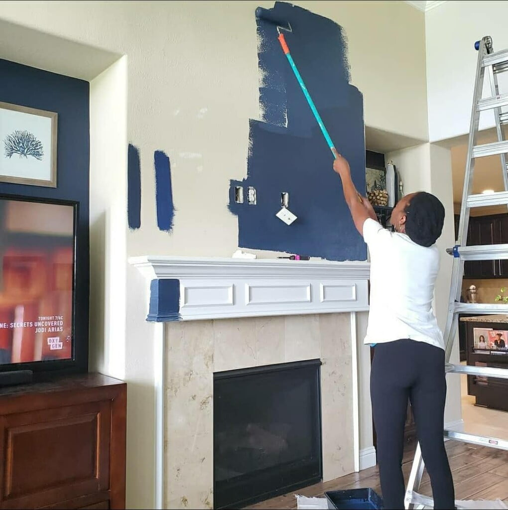 Painting the fireplace wall